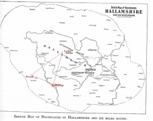 A Map dipicting the area of Hallamshire (Today named as part of Barnsly in Yorkshire